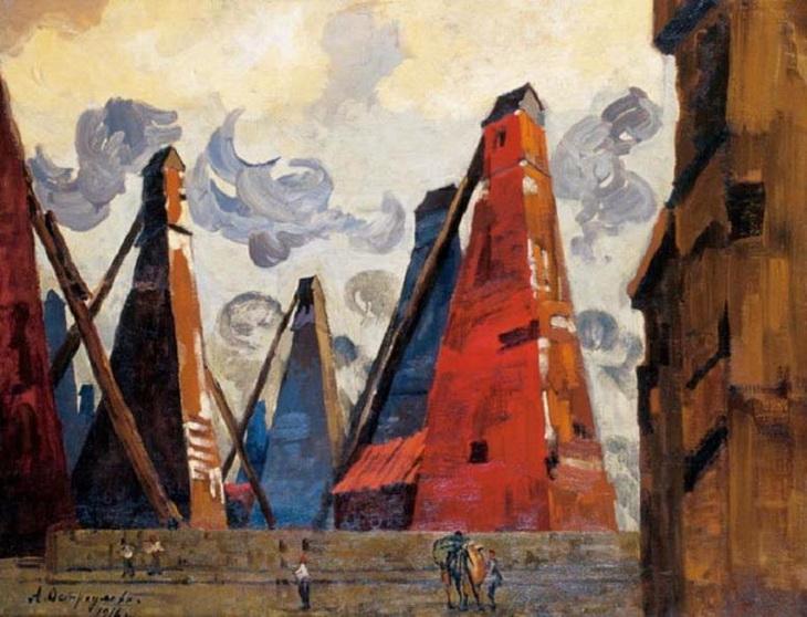 Нефтепромыслы Баку на картинах 1916 г. выдающейся русской художницы (ФОТО)