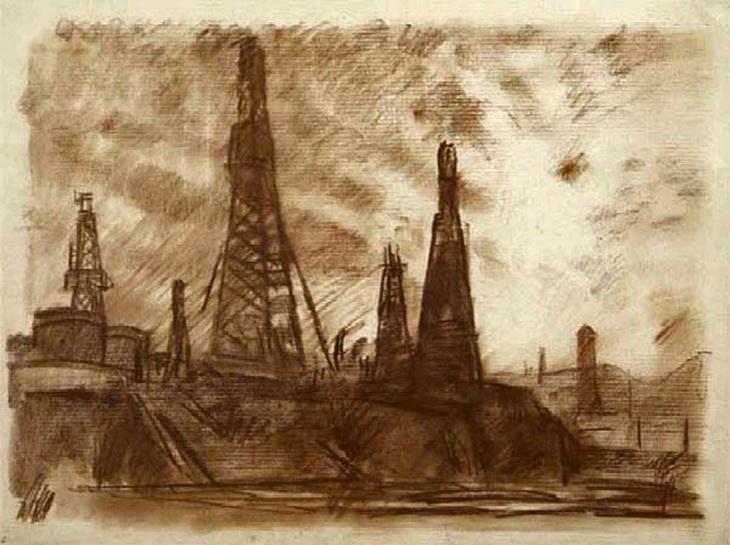 Нефтяная тематика Баку в рисунках С. Герасимова 1929-1932 гг. (ФОТО)