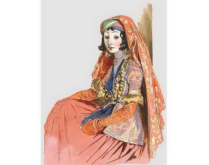 1840-1853. Жительница Шемахи в национальной ширванской одежде