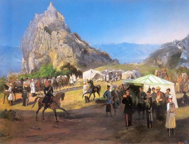 1840-1853. Летний лагерь Нижегородского драгунского полка под Кара-Агачем