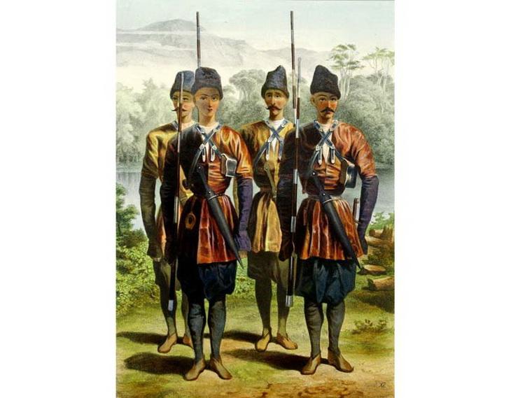 Грузинские ополченцы из города Закаталы (лезгинская ветвь)