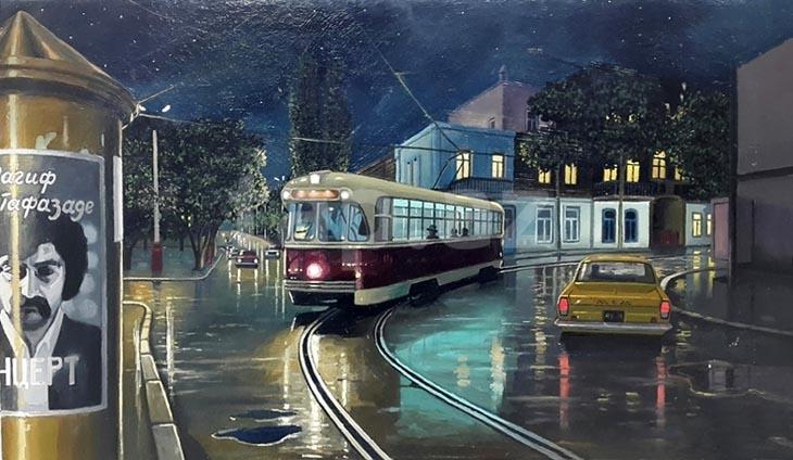 Бакинский транспорт на картинах художников (ФОТО)