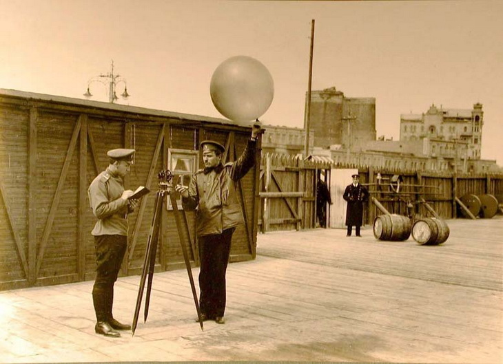 1915. Подготовка к метеорологическим исследованиям. Пускание шаров-пилотов