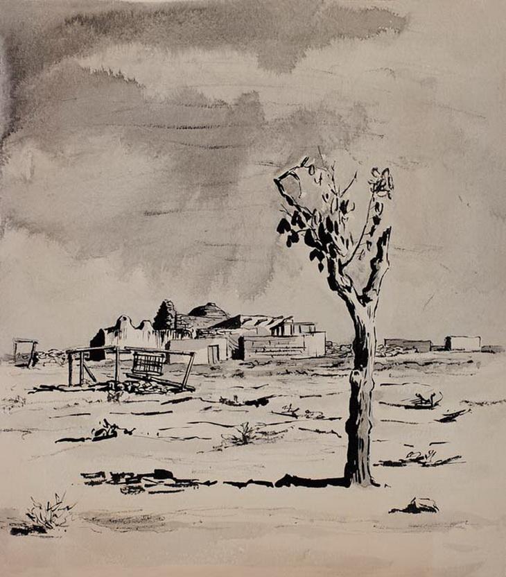 1919. Рисунок С.Телингатера. Дерево на Апшероне