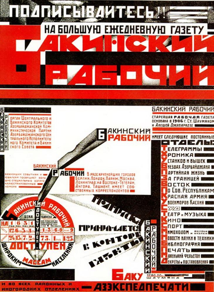 1925. С.Телингатер. Плакат о подписке на газету Бакинский рабочий