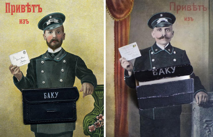 Открытки с почтальоном начала ХХ века: сюрприз «Привет из Баку» (ФОТО)